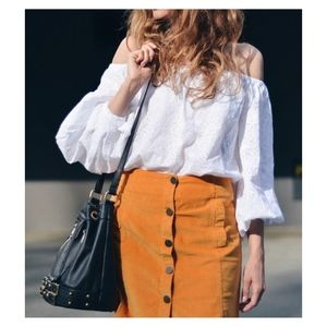 White Off the Shoulder Eyelet Puff Sleeve Blouse